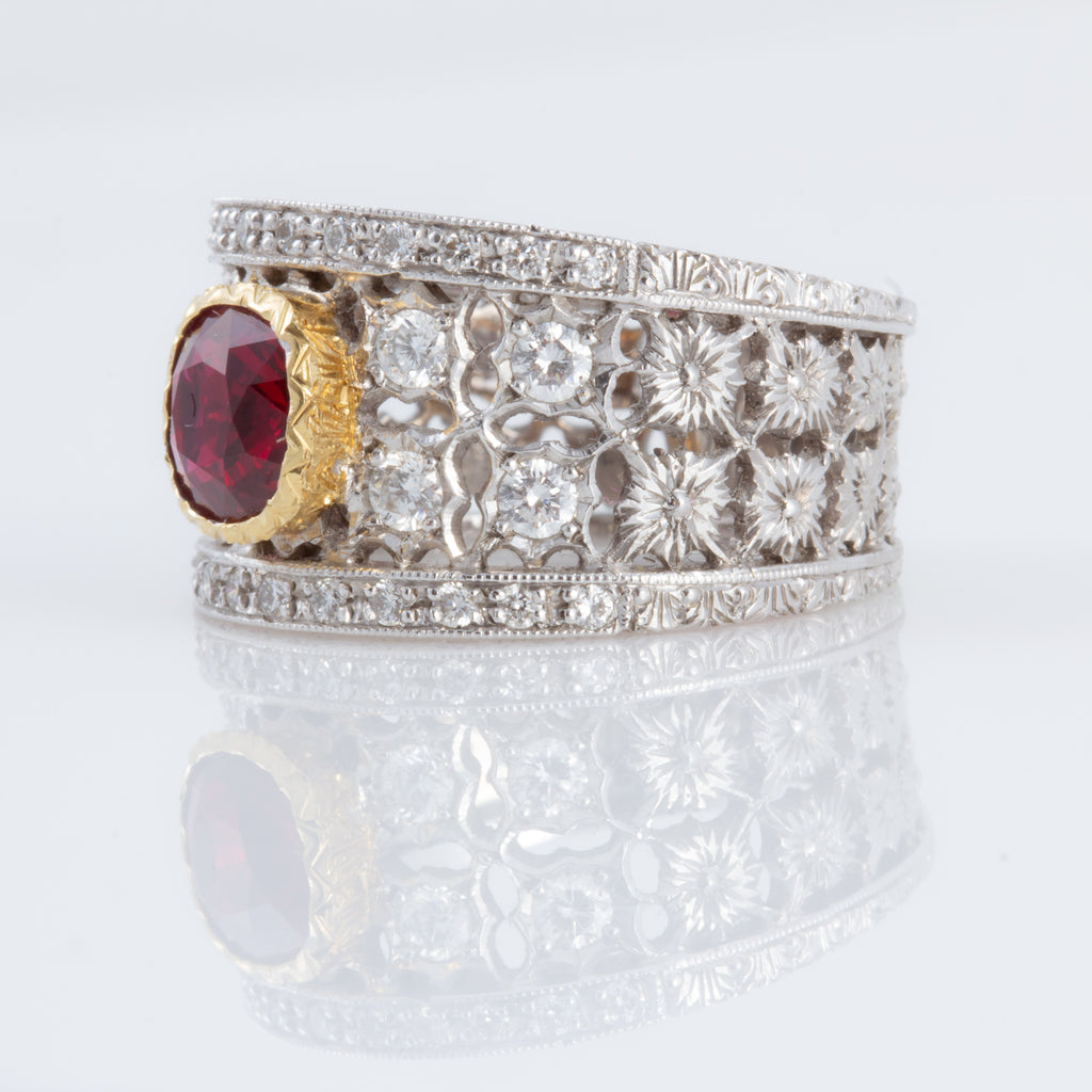 Spectacular Italian Florentine Engraved Ruby and Diamond 18 karat Ring