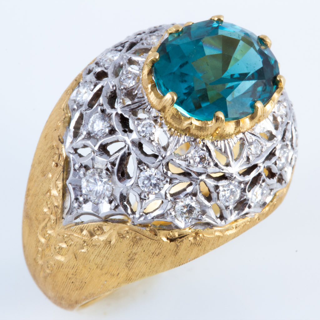 Blue-Green Tourmaline & Diamond Ring in Florentine Crafted 18K Gold