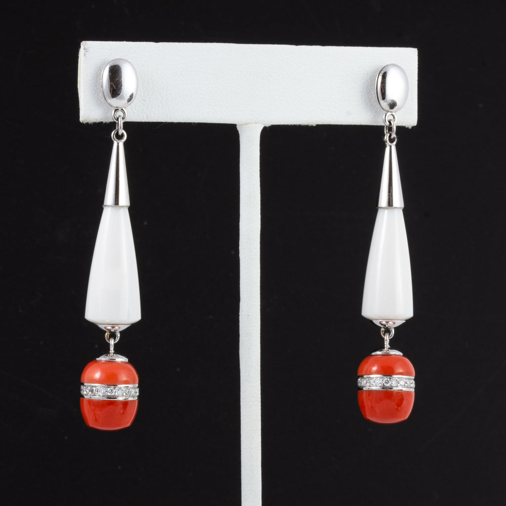 Italian Agate and Coral Earrings, 18 Karat Gold Handcrafted in Milan