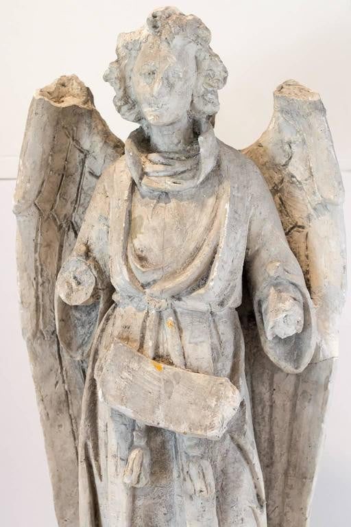 "Large Antique Belgian Plaster ""Master"" Angel Altarpiece"