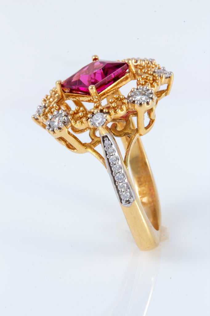 Rubellite Tourmaline and Diamond Ring set in 18K Gold