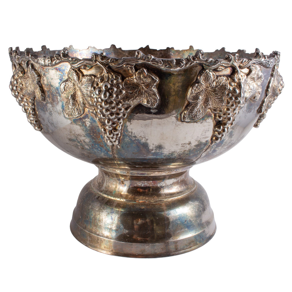 Large Silver-Plate Punch Bowl with Insert & Grape Decoration
