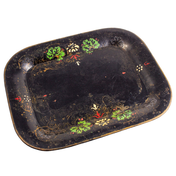 Antique French Hand-Enameled Metal Tray in Black & Gold