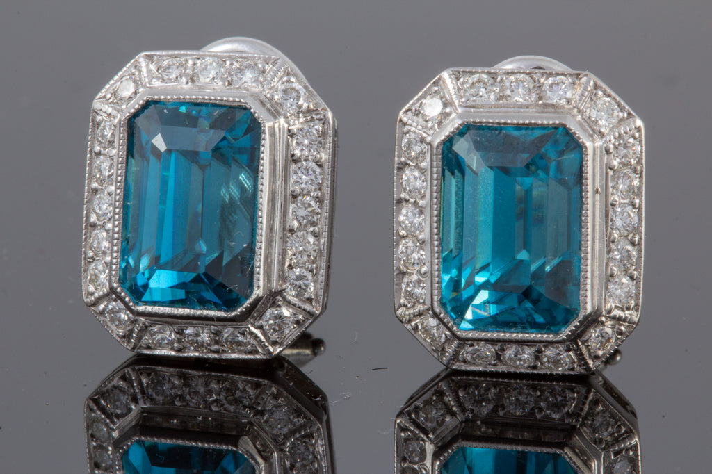Cambodian Blue Zircon and Diamond Earrings Set in 18 Karat Gold and Platinum