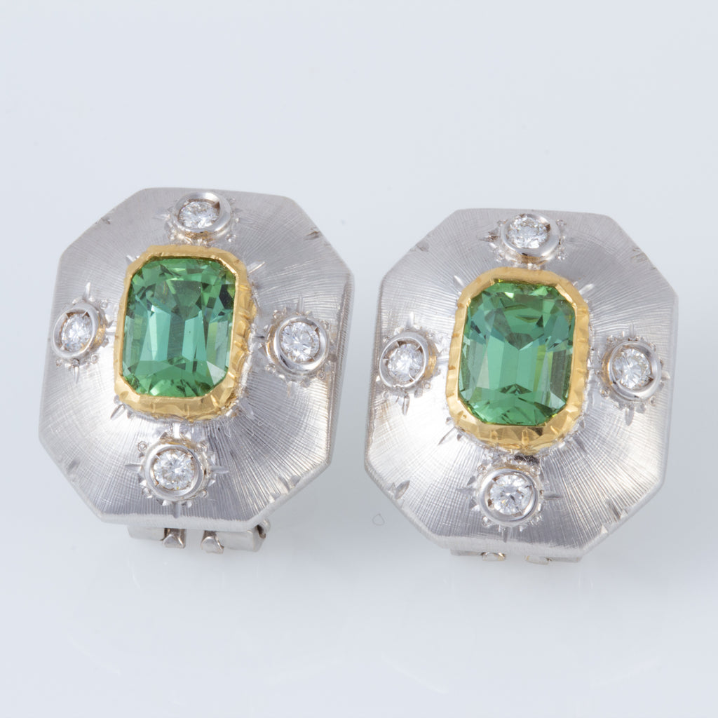 Italian Green Tourmaline Florentine Earrings