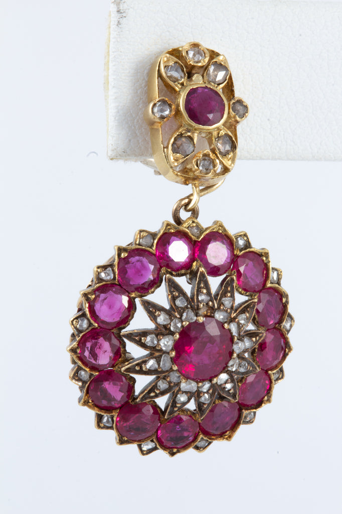 Antique Burmese Ruby & Diamond Earrings