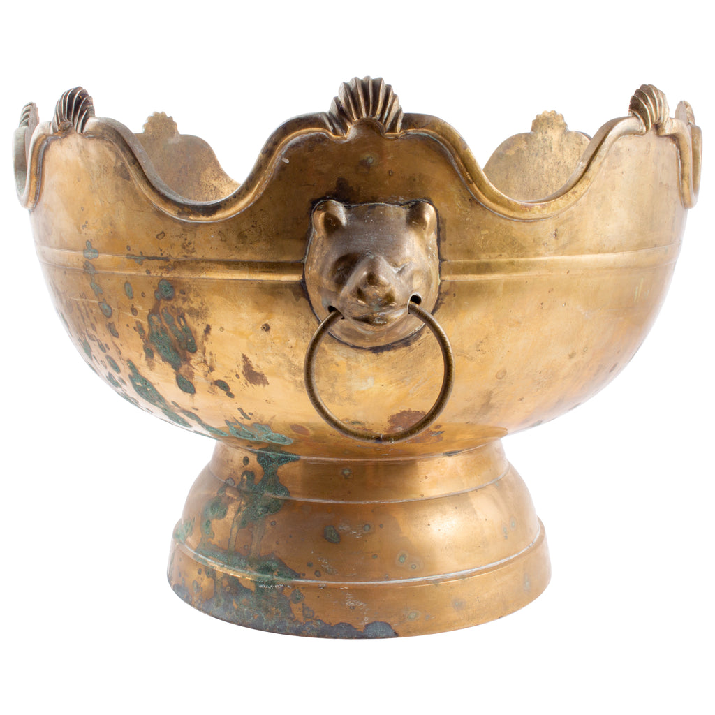 Antique Brass Footed Bowl with Bear-Head Handle Detail