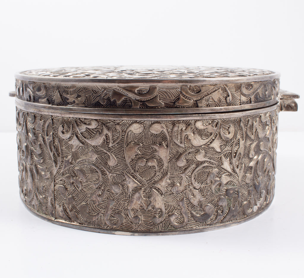 Vintage Engraved Silver Jewelry Box found in France