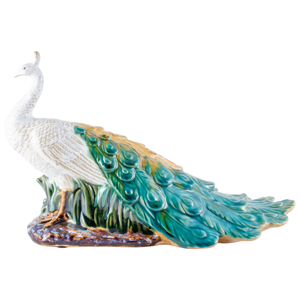 Pairing of Vintage Glazed Ceramic Peacock Figures