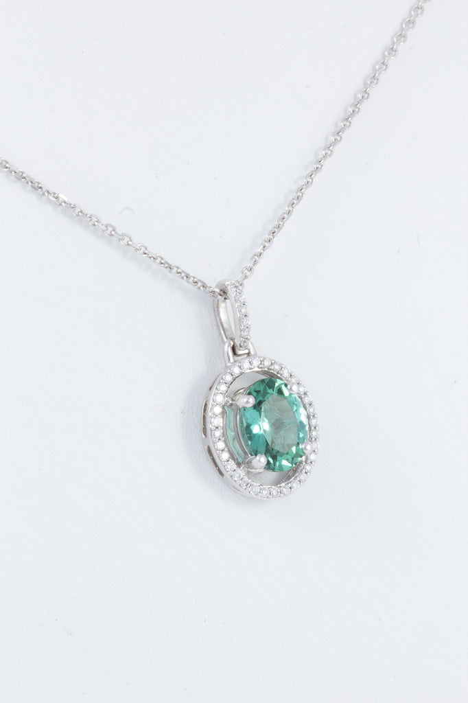 Blue Green Tourmaline & Diamond Pendant Necklace in 14 kt White Gold