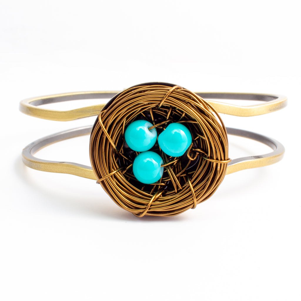 Handmade Birds Nest Hinged Cuff