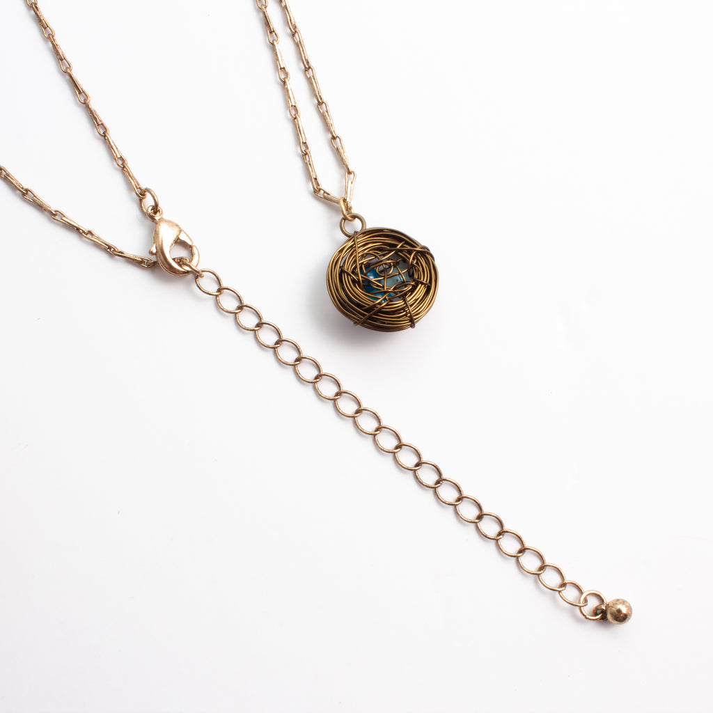 "Handmade Birds Nest Pendant Necklace - 30"" Chain"
