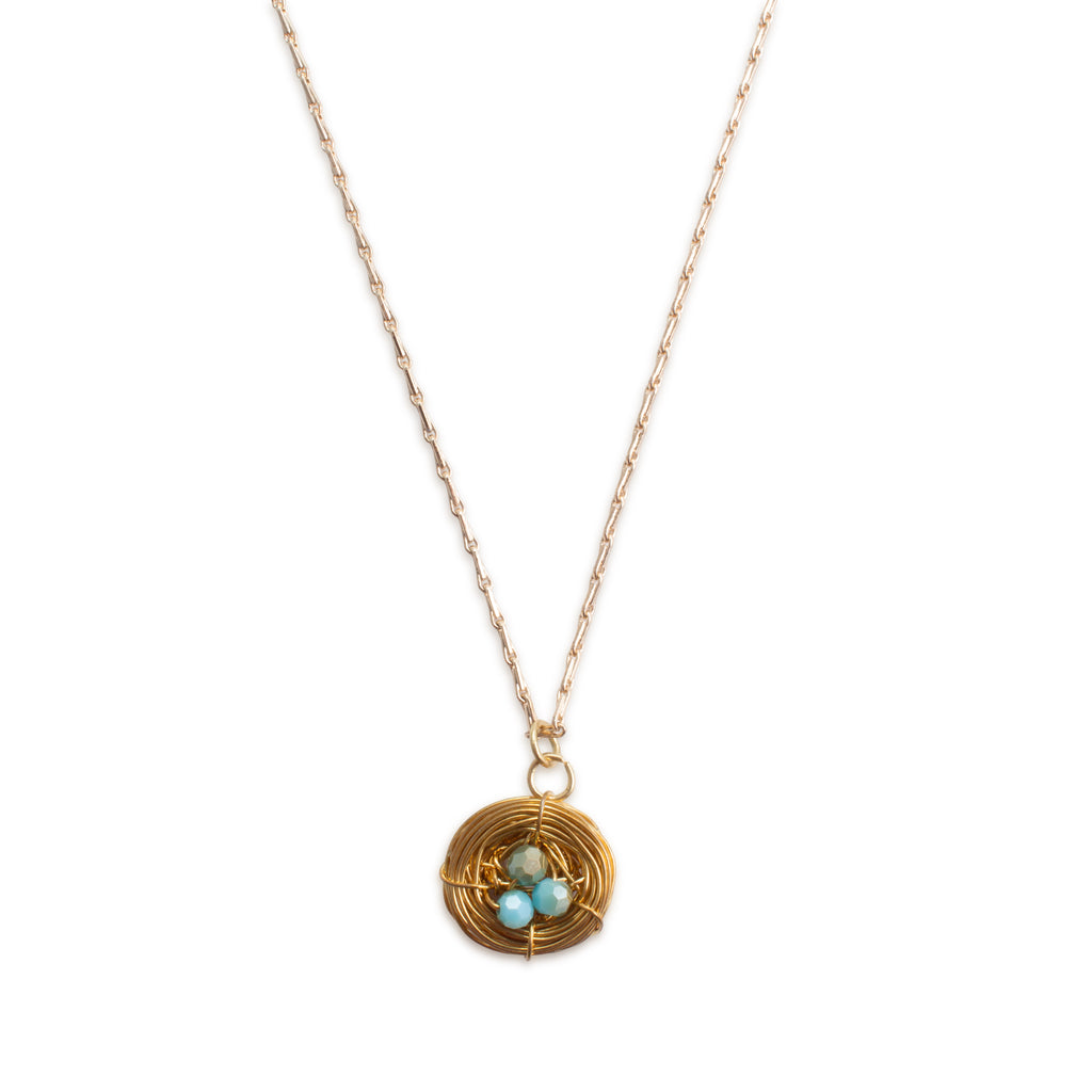 "Handmade Birds Nest Pendant Necklace - 18"" Chain"