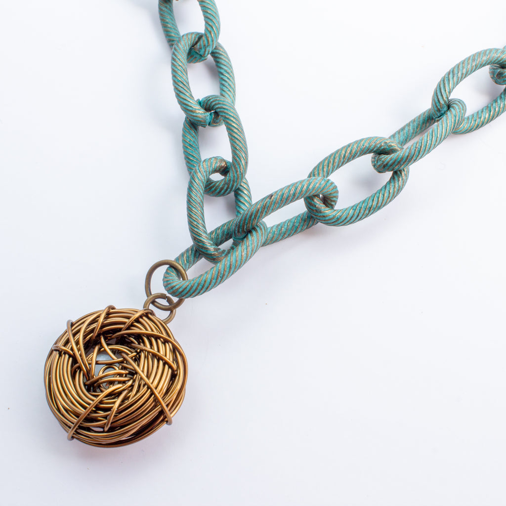 "Handmade Birds Nest Pendant Necklace - 17"" Chain"