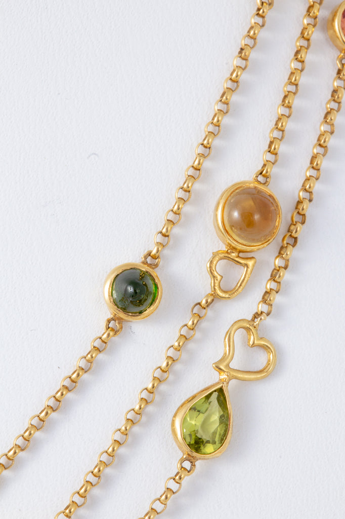 Amazing Handcrafted Bezel Set of Multicolored Gemstone Necklace in 18 Karat Gold