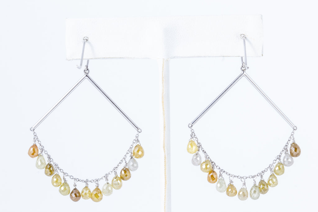 Natural Colored Diamond Briolette Earrings with 18 Karat White Gold