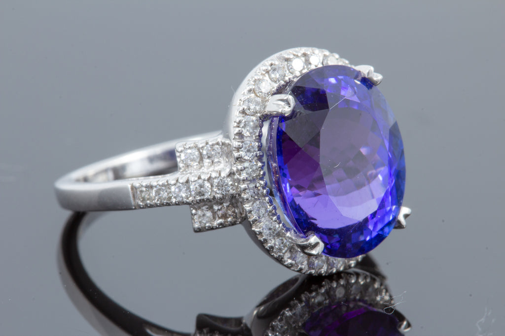 6.70 Carat Tanzanite and Diamond Ring
