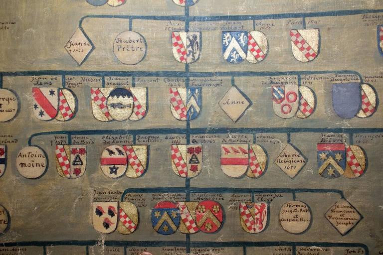 Antique French Hand-Painted Heraldic Map from Chartres, France