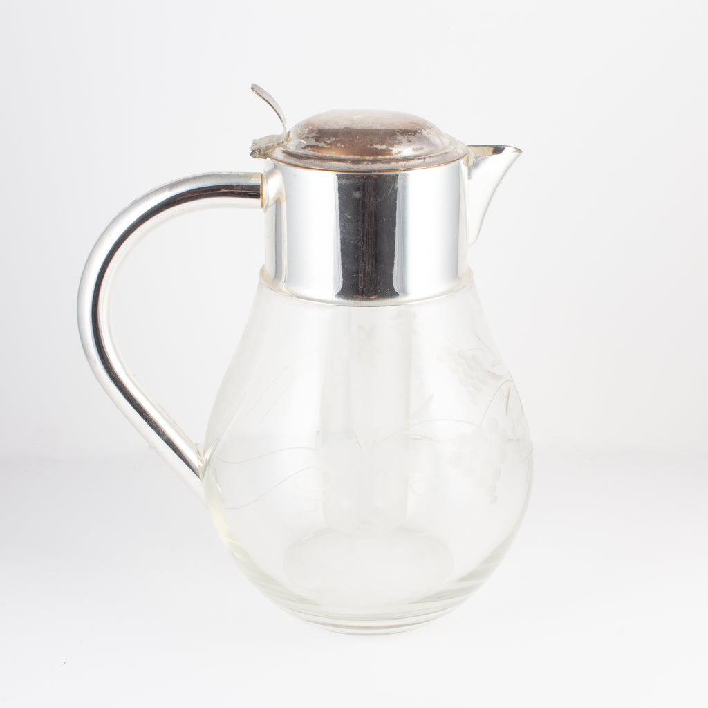 Vintage Etched Glass & Silver Plate Lemonade Jug with Ice Holder