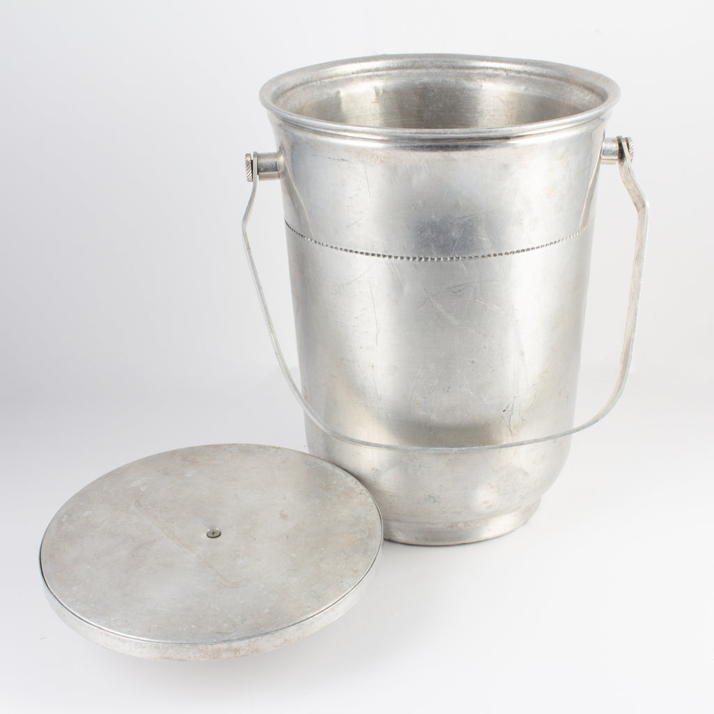 Vintage English Insulated Ice Bucket with Lid & Crest Detail