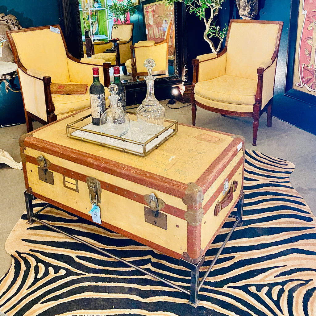 Coffee Table Crafted with Vintage French Luggage and Custom Iron Base