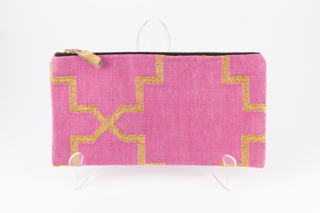 Indian Cotton Dhurrie Rug Clutches - Large