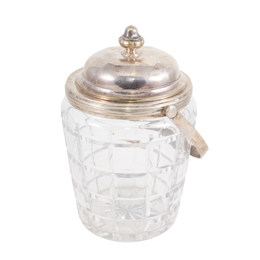 Antique French Crystal & Silver Plate Ice Bucket with Lid
