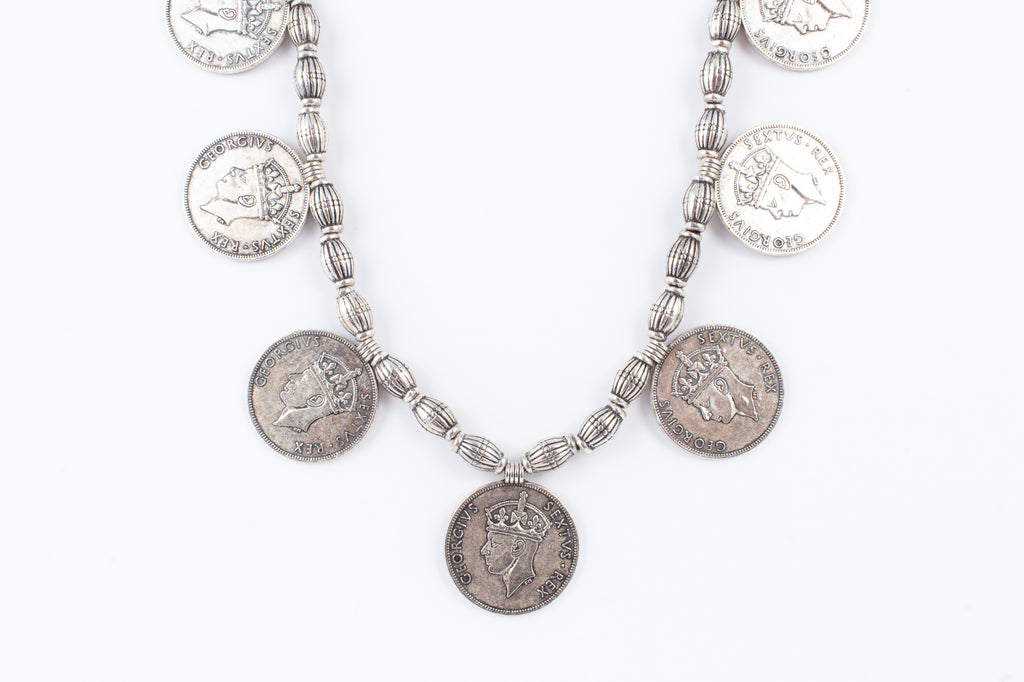 Antique Indian Coin Necklace on Adjustable Cotton Cord