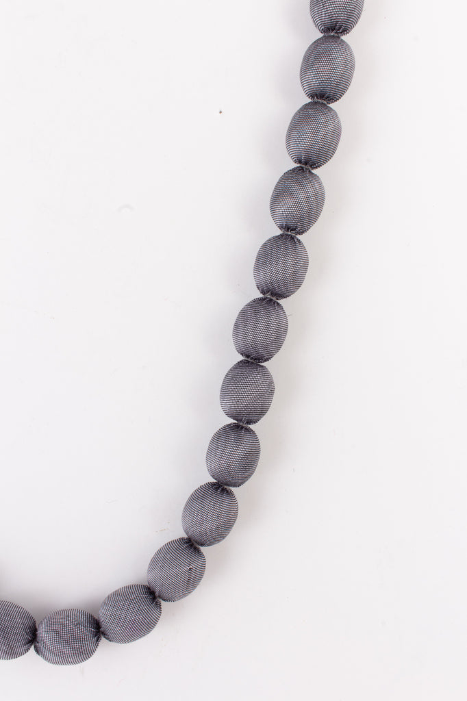 Cambodian Silk Beaded Necklace in Gray