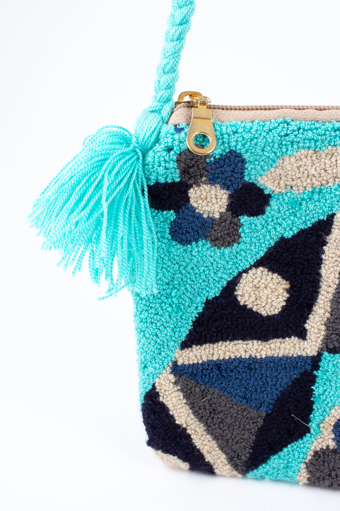 Handmade Colombian Wayuu Textile Shoulder Strap Bag in Turquoise