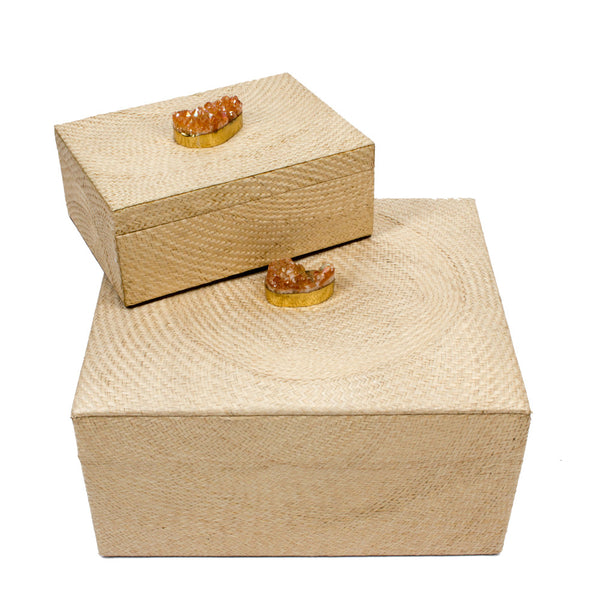 Woven Boxes with Druzy Decoration from the Philippines