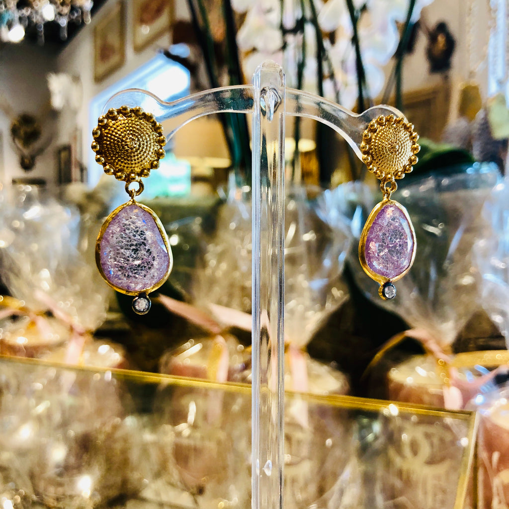 Handmade Gold & Amethyst Crackle Drop Earrings from Istanbul