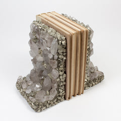 Quartz Crystal and Pyrite Bookends