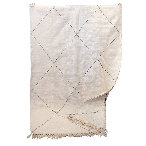 Vintage Moroccan Beni Ourain Double-Sided Berber Rug in Ivory and Black