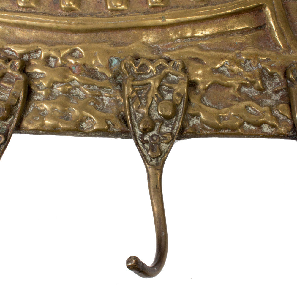 "1930s Large Brass Cast ""Don Fernando"" Ship Decorative Wall Hook from France"