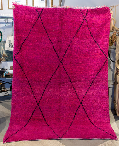 Moroccan Beni Ourain Double Sided Wool Rug in Hot Pink and Black