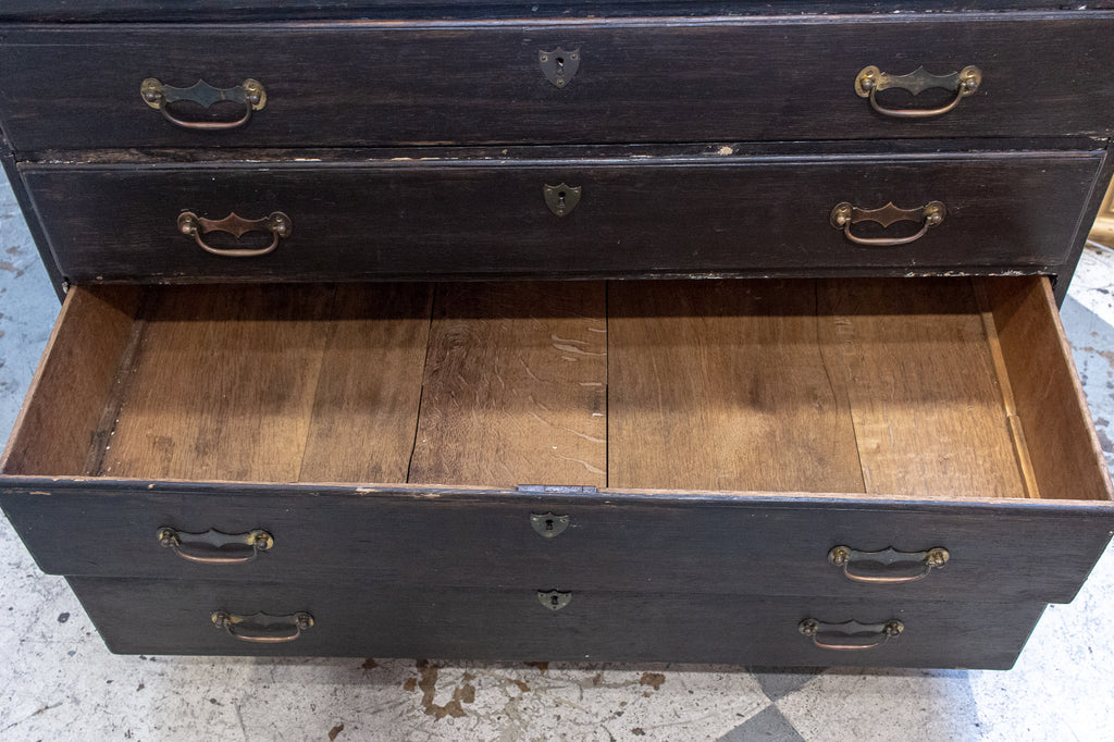 Antique French Five-Drawer Commode in Distressed Black Finish, circa 1900