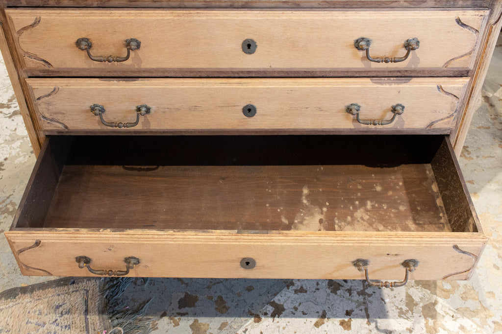 Antique French Stripped Wood Three-Drawer Commode with Carved Details