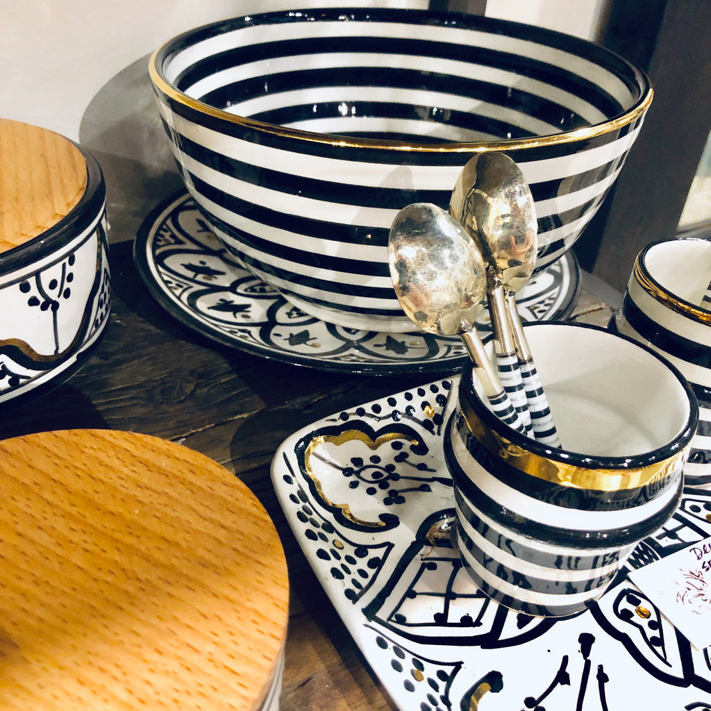 Handmade Noir Glazed Moroccan Ceramic Boxes with 12K Gold Accents