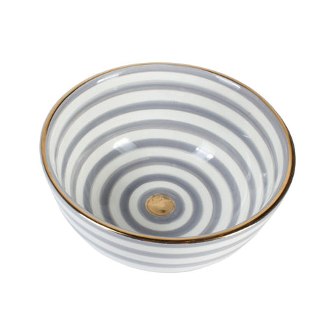 Handmade White & Gray Striped Moroccan Glazed Bowl