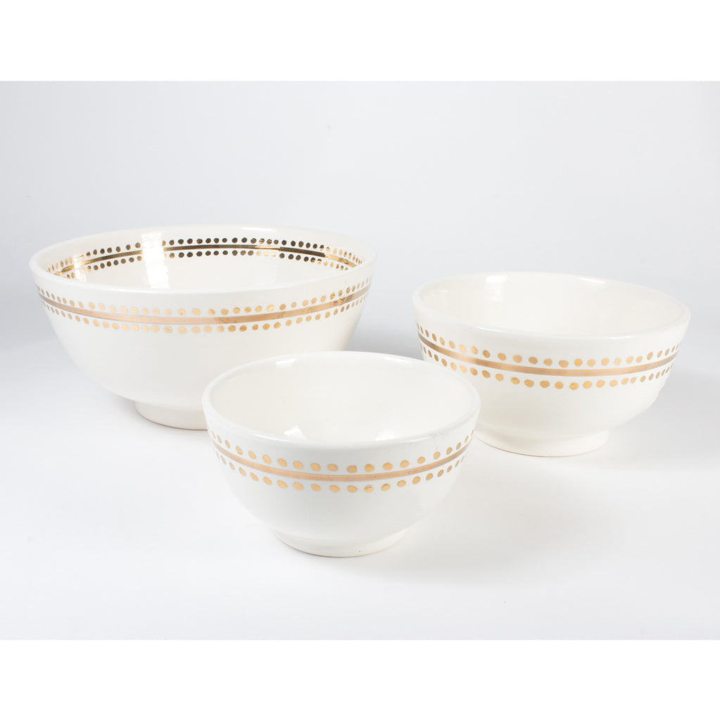 Handmade Ivory & Gold Dot Moroccan Glazed Bowls (Three Sizes)
