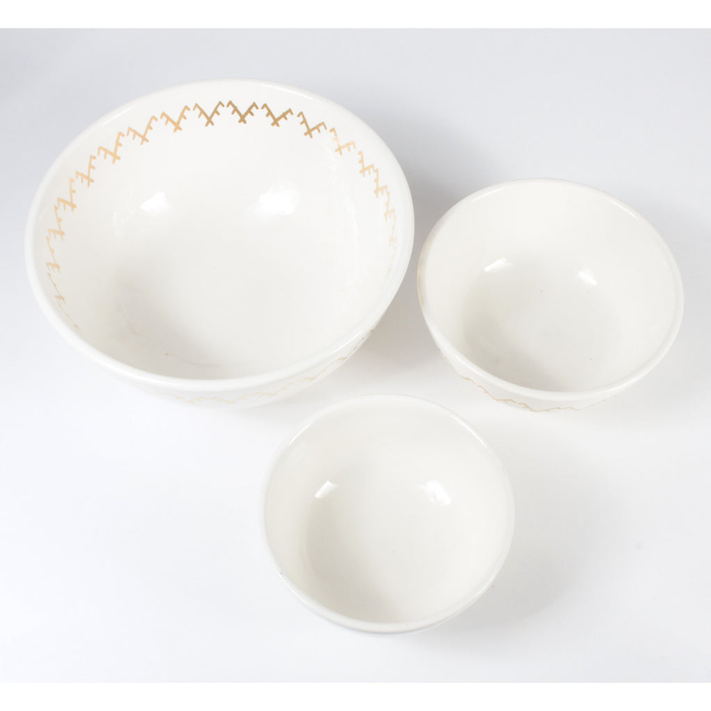 Handmade Ivory & Berbere Gold Moroccan Glazed Bowls (Three Sizes)