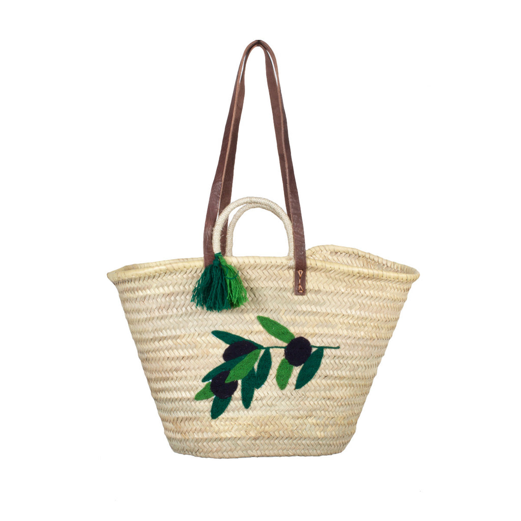 Olive Branch Embroidered Moroccan Woven Tote