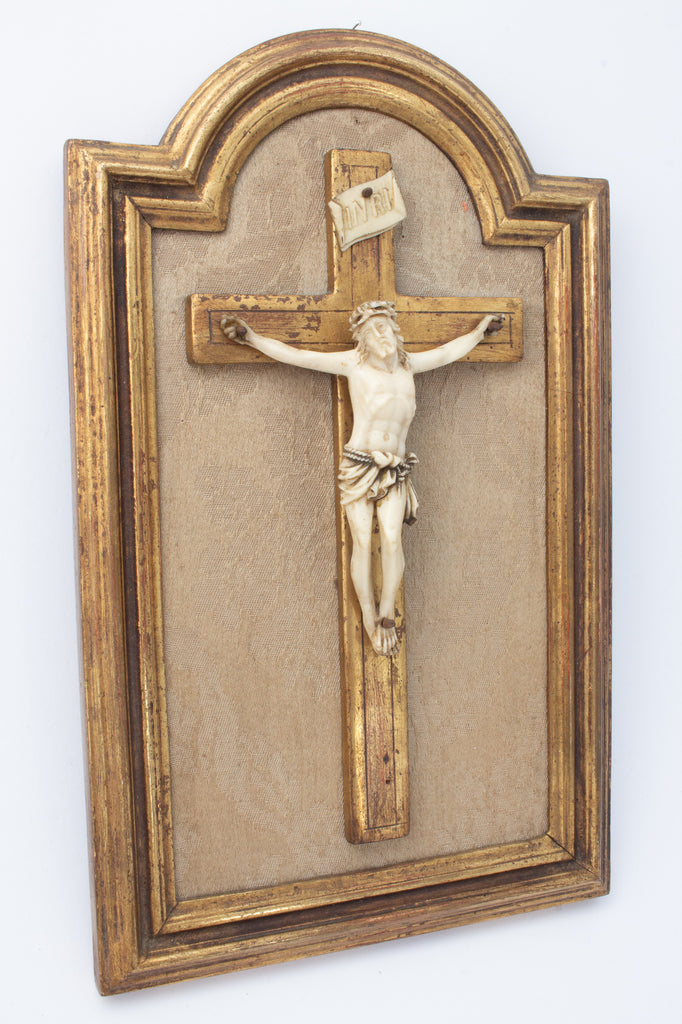 Vintage Crucifix on Gilt & Linen Frame