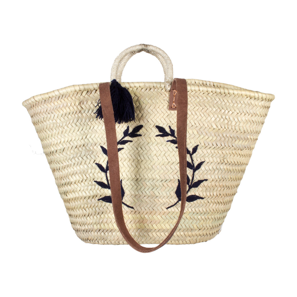 Navy Laurel Embroidered Moroccan Woven Tote