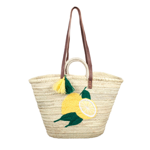 Lemon Embroidered Moroccan Woven Tote