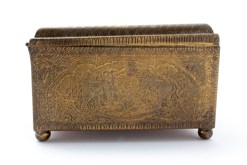 Vintage Engraved Brass Keepsake Box found in France