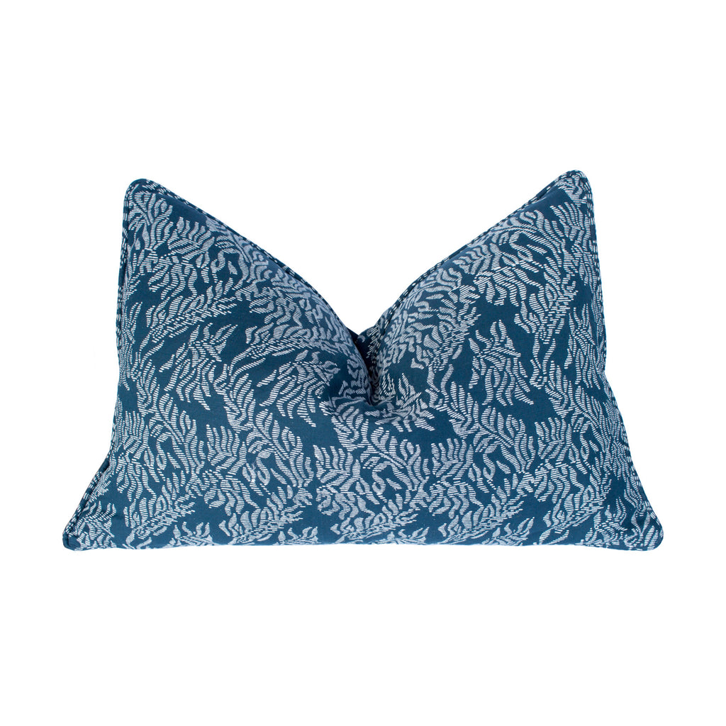 Turkish Silk Cotton Lumbar Pillow - Balthazar Blue