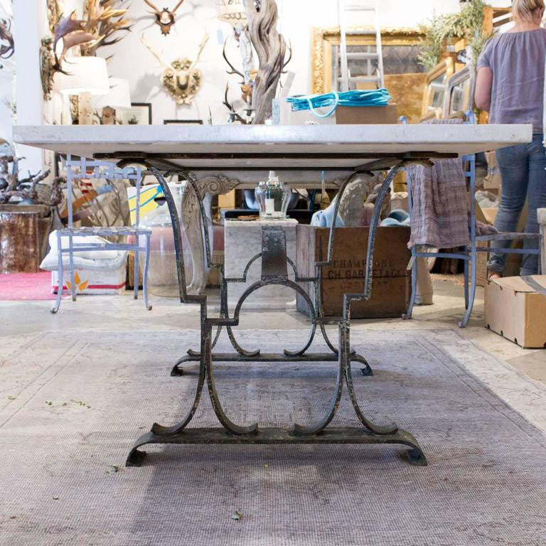Antique French Iron Table or Desk from Épernay with Travertine Marble Top