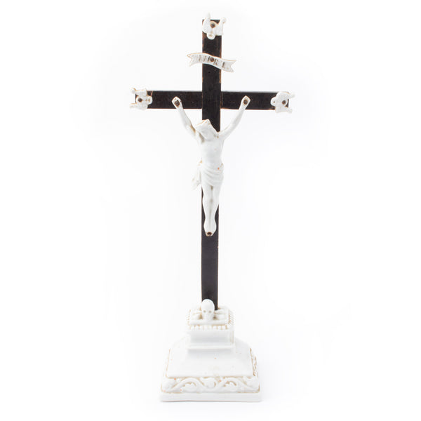 1930s French Wood & Porcelain Standing Crucifix